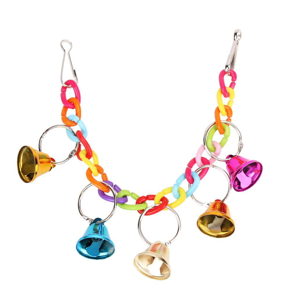 Domybest Pet Bird Bell Acrylique Jouets à mâcher Parrot Ringer à suspendre balançoire Cage pour calopsitte élégante