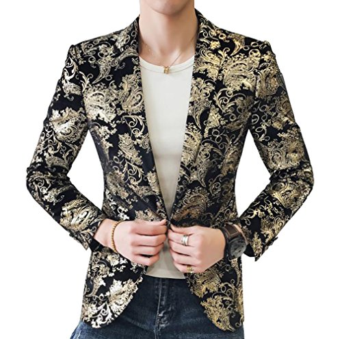 OUYE Men's Golden Single Breasted 2 Button Sport Coat 4X-Large ()
