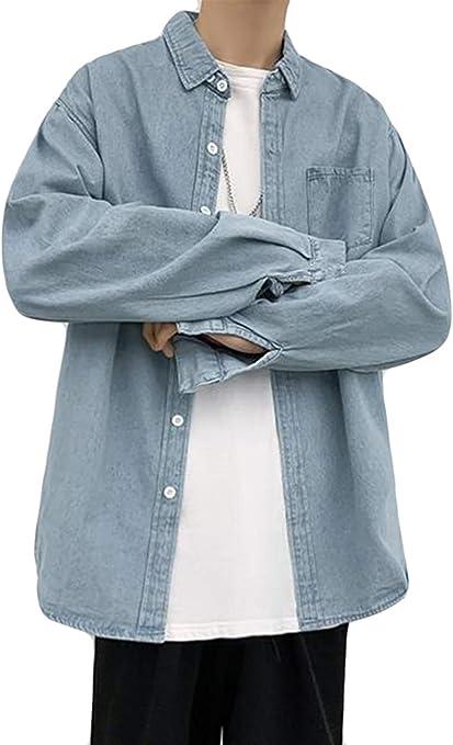 (シジャァーノ)デニムシャツ メンズ アウター 長袖コート ブルー 韓国コート オーバーコート カジュアル デニムトップス gジャンジャケット スタイリッシュ ストリート系
