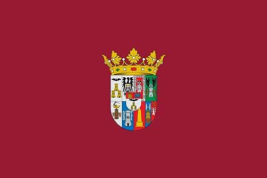 magFlags Bandera Large Antigua de la Diputación Provincial de Albacete de Color carmesí con el Escudo Grande de la Provincia al Centro | Bandera Paisaje | 1.35m² | 90x150cm: Amazon.es: Jardín