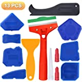 13 Pieces Caulking Tool Kit Cleaning Knife Silicone Sealant Finishing Tool Grout Scraper Caulk Remover and Caulk Nozzle and Caulk Caps for Kitchen, Bathroom,Tank,Sink Joint (Blue)