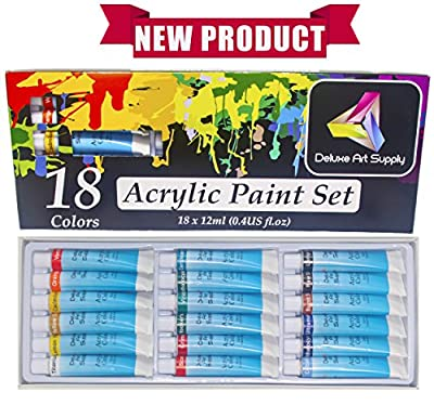 Acrylic Paint Set - 18 Vibrant Colors, 12ml aluminum tubes, Professional Quality, Rich Pigments, for Beginners, Students and Professionals - by Deluxe Art Supply