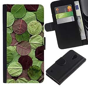 KingStore / Leather Etui en cuir / Samsung Galaxy S4 IV I9500 / Rotonda Modello Natura Verde Marrone
