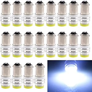 EverBright 20-Pack White BA9 BA9S 53 57 1895 64111 T4W Ceramic SMD 1W LED Replacement for Car License Plate Light Bulb Side Door Courtesy Door Lamp Interior Map Lights DC12V