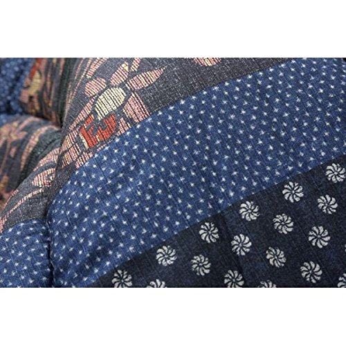 国内プリント こたつ厚掛け敷布団セット 『万葉』 ブルー 205×345cm   B01H9RNSJQ