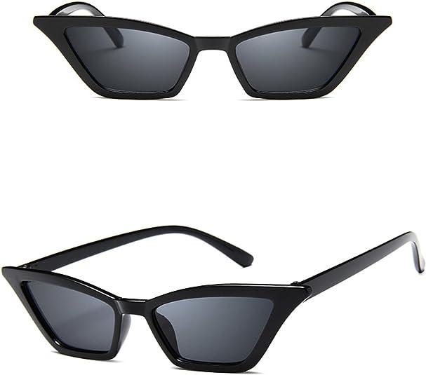 Small Adult Black Horn Rim Cat Eye Vintage Sunglass with Gray Lens Peg