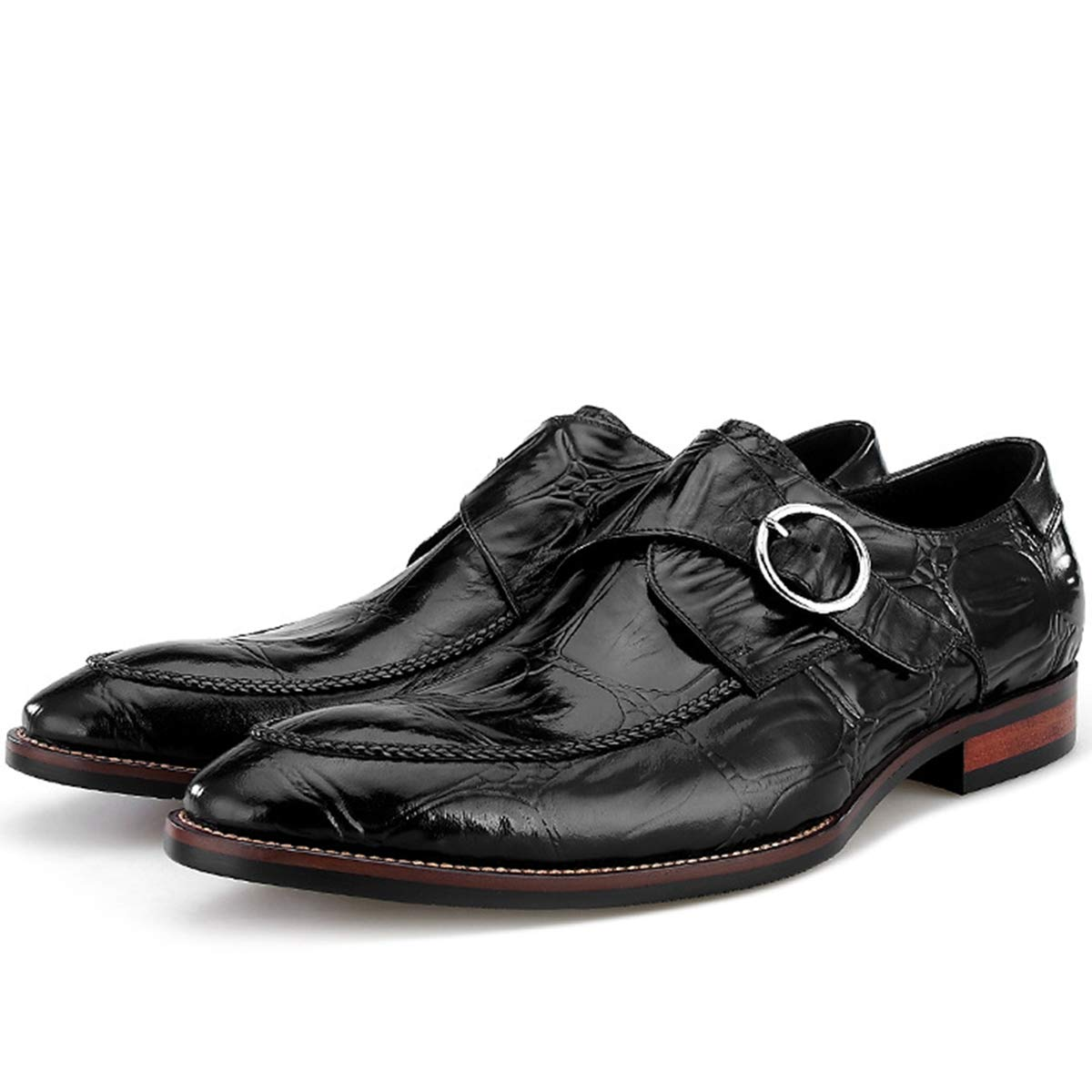 XWQYY Herren Business Schuhe Leder Gepr/ägtes Krokopr/ägung Spitz Schnalle Erste Schicht Leder Hochzeitsschuhe,Black-38EU