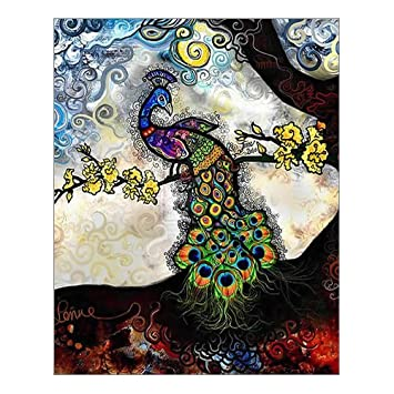 Custom Beautiful Modern Art Abstract Painting Peacock Canvas Print 16quot X 20quot Inch