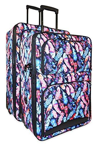 Ever Moda Peacock Feather 2-Piece Luggage Set by Ever Moda