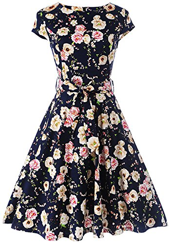 Women Vintage Cocktail Tea Party Swing Dress Cap-Sleeve F 01 (Floral Print, X-Large)