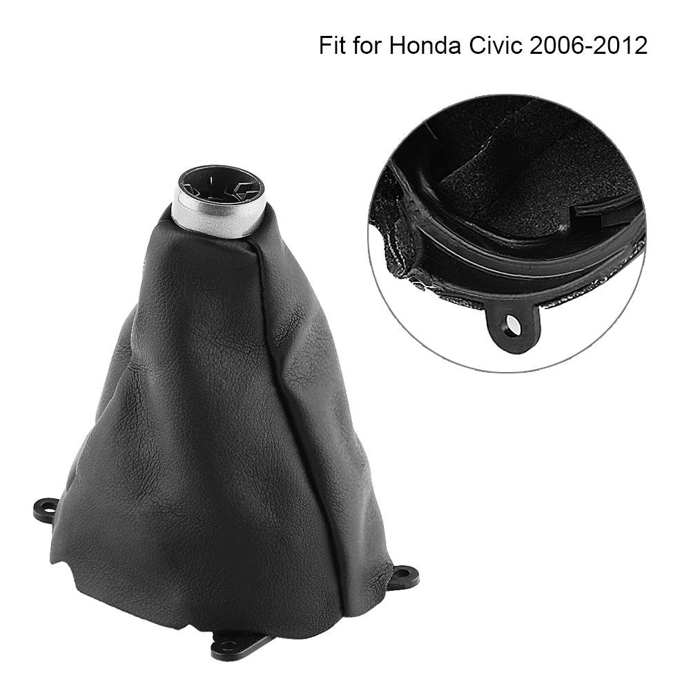 Cuque Car Gear Gaiter Shift Shifter Boot frame kit Manual PU Leather Dust Cover-proof Knob Replacement Gaiter Boot cover for Honda Civic 2006-2012