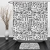 Vipsung Shower Curtain And Ground MatCasinos Collection The Dices Close Up Abstract Monochromatic Chaotic Crowded Gaming Houses Print Gray and BlackShower Curtain Set with Bath Mats Rugs