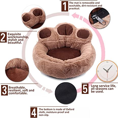 Amazon.com: Decdeal Comfortable and Soft Pet Sofa Bed, Bear Claw Shape Sleeping Bed for Dog, Cat, Small Animals, 4 Color, 3 Size: Kitchen & Dining