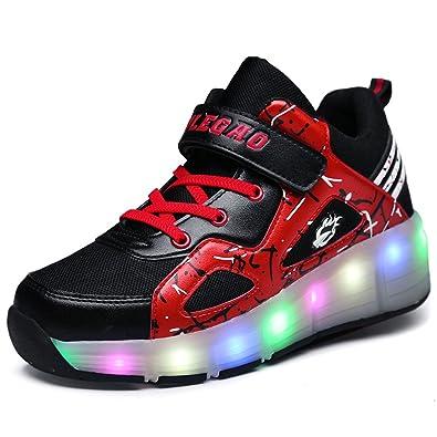 Fexkean Jungen Mädchen LED Schuhe mit Rollen Skateboard Rollschuhe Blinkschuhe Sport Outdoorschuhe Sneaker Kinder (Blue39) Og7TF0E7q