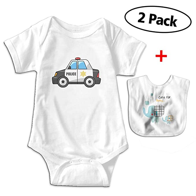 9d37fba43d2b CARRYFUTURE Funny Police Car Infant One-Pieces Bodysuit with Free Baby Bibs