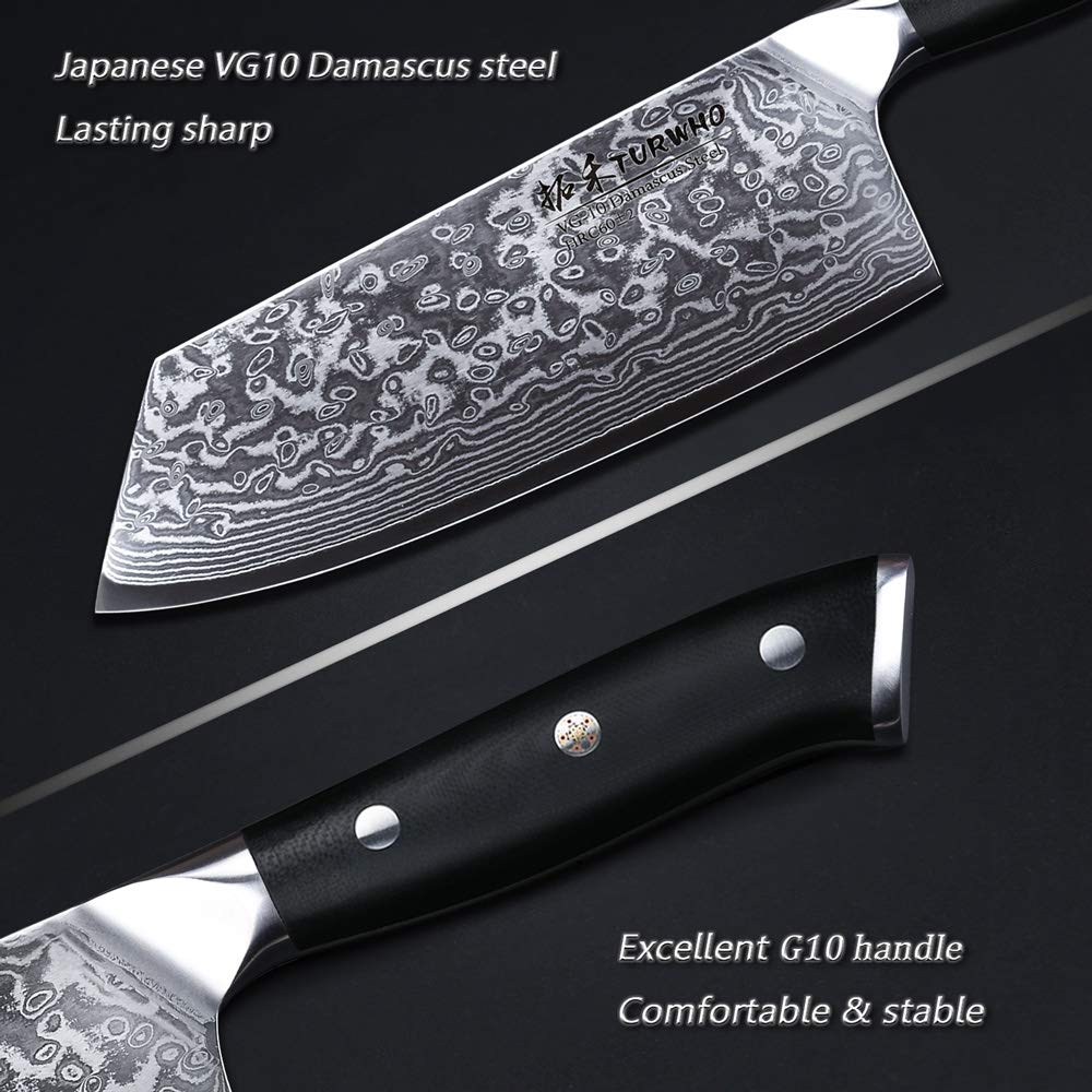 TURWHO Cleaver Knife - Japanese VG-10 Damascus Steel - Chinese Chef's Knife for meat and vegetable with Ergonomic G10 Handle - 7.5'' by TURWHO (Image #2)