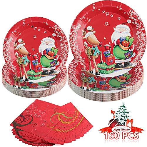 Christmas Party Supplies Disposable Dinnerware Set Serves 30 Guests Includes 30 9″ Dinner Plates 30 7″ Dessert Plates and 40 Napkins Christmas Santa&Reindeer Dinner Paper Plates (Paper, 160)