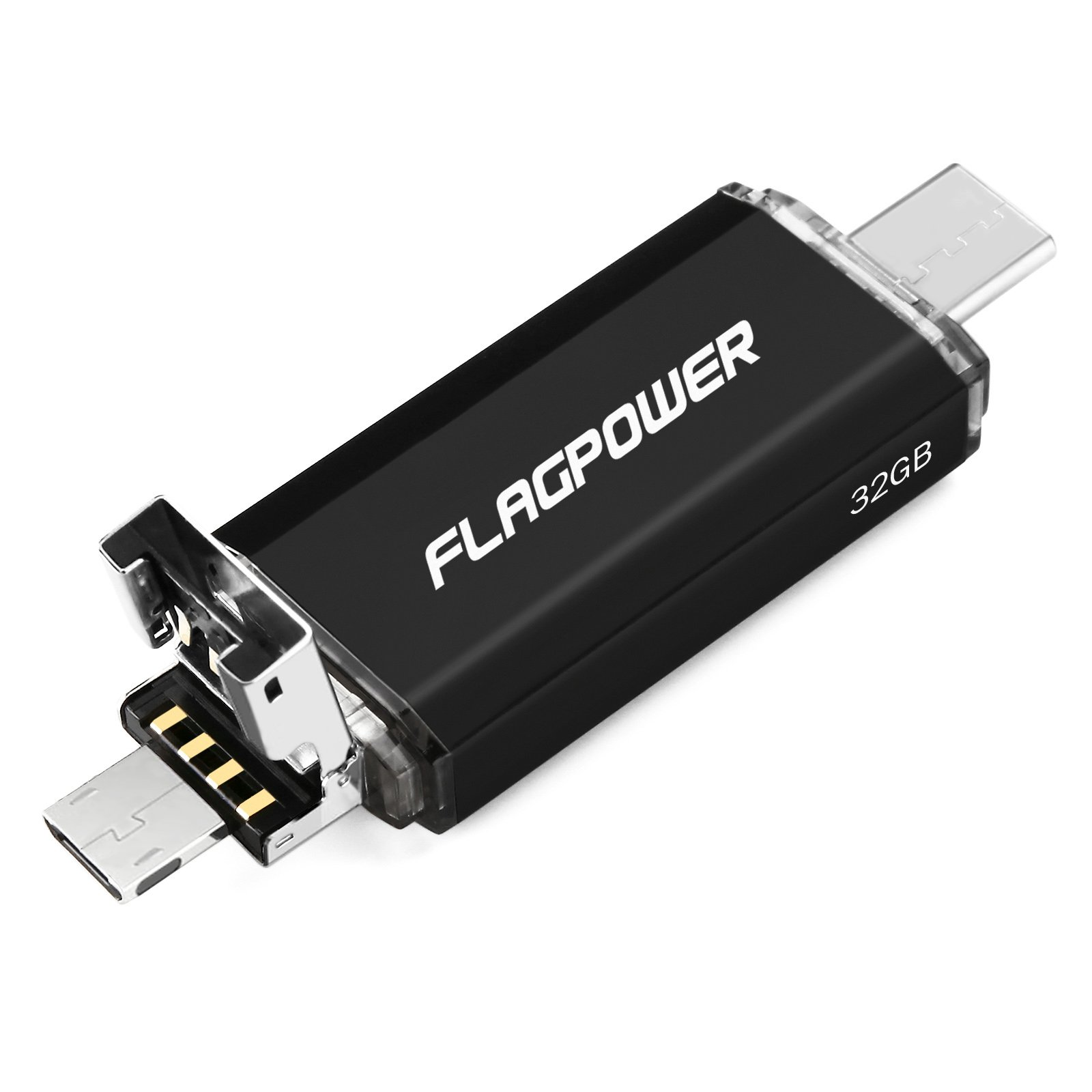 USB Flash Drive,FLAGPOWER 3 in 1 USB Tpye-C Miro USB High Speed Memory Storage Drive for Android SmartPhone/Tablets, Apple Macbook, Google Chromebook Pixel, Samsung Nokia N1 Tablet 32GB