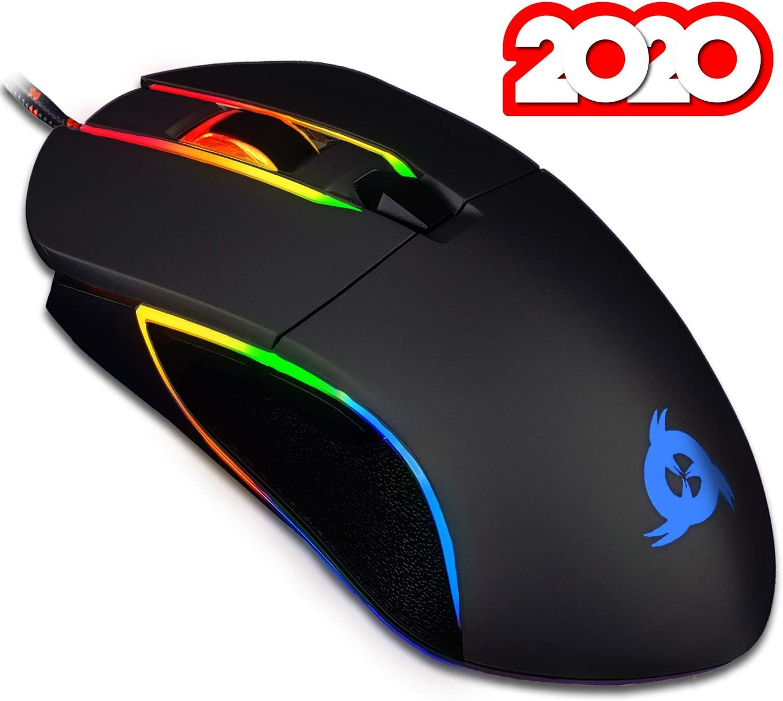 KLIM™ Aim - Ratón Gaming con Cable + Diseñado para Todos los Tamaños de Manos + Ratón Gamer RGB Personalizable, Programable, 500 a 7000 dpi + Agarre Ambidiestro + Compatible con PC y PS4 (Negro)