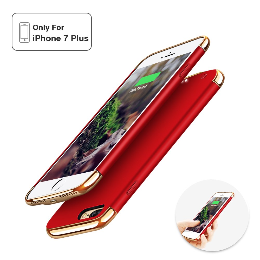 iPhone 7 Plus Battery Case,Joyroom Ultra Slim Extended Rechargeble Battery Case for iPhone 7 Plus with 3500mAh Capacity Portable Charger Case (M143-red)