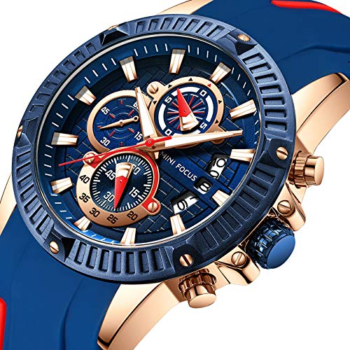 MINI FOCUS Men's Business Watch, Fashion Watch Chronograph (Blue, Alloy Case), Casual Quartz Wristwatch for Family Gift