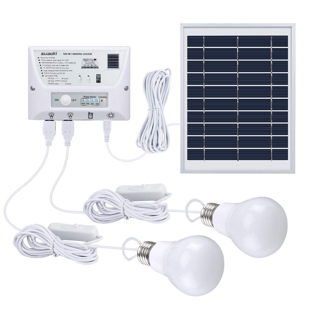 SUAOKI Solar Panel System Lights Kit, Upgraded Portable Home Solar Lights Outdoor Solar PoweredCharger with Switch Controller, 2 LED Bulbs, 3 USB Ports for Indoor Outdoor Camping Garage Emergency by SUAOKI