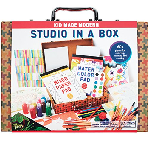 Kid Made Modern Studio in A Box Set - Arts & Crafts Kit for Painting Sketching & Coloring