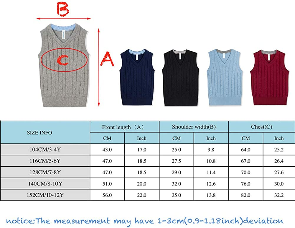 Benito /& Benita Boys Sweater Vest Kids V-Neck Uniform Pullover Cable Knit Sweater for Size 3-12Y