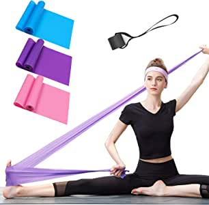 Resistance Bands Set, 3 Pack Professional Latex Elastic Bands for Home or Gym Upper & Lower Body Exercise, Physical Therapy, Strength Training, Yoga, Pilates, Rehab, Blue & Purple & Pink