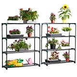 VonHaus 4 Tier Staging Shelving Unit for Garden/Greenhouse - 2 Pack - Shed & Garage Storage Racking