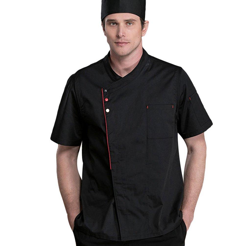 Dooxii Unisex Donna Uomo Estate Manica Corta Giacca da Chef Professionale Ristorante Occidentale Cucina Mensa Hotel Uniformi Divise da Cuoco