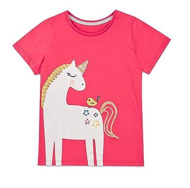 8639f25e7 W.L.Monsoon Girls Pink & Gold Cotton Unicorn Toddlers Childrens T-Shirt Top