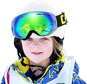 COPOZZ Kids Ski Goggles, G3 Children (Age 2-12) Snow Snowboard Goggles - Helmet Compatible Over Glasses OTG Non-Slip Strap UV400 for Child Youth Boys Girls