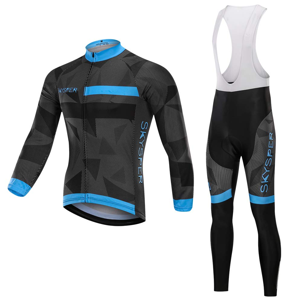 2922eec26 Amazon.com  SKYSPER Men s Cycling Jersey Suit Long Sleeve MTB Bike Bicycle  Shirt Tights 3D Padded Pants Winter Riding Gear Breathable  Clothing