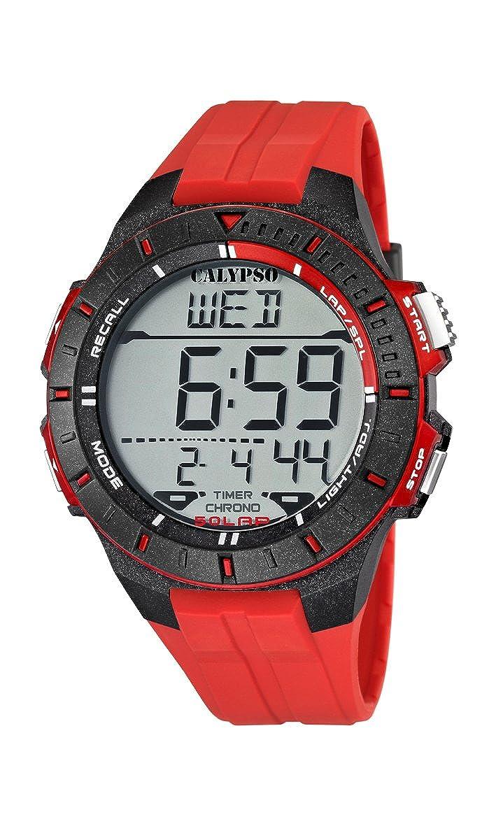 Calypso watches Calypso watches - Reloj digital de cuarzo para niño con correa de plástico, color rojo: Amazon.es: Relojes