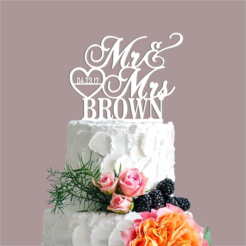 P Lab Personalized Cake Topper Mr. Mrs. Last Name Custom Date 2 Wedding Cake Topper Acrylic Decoration for Special Event White