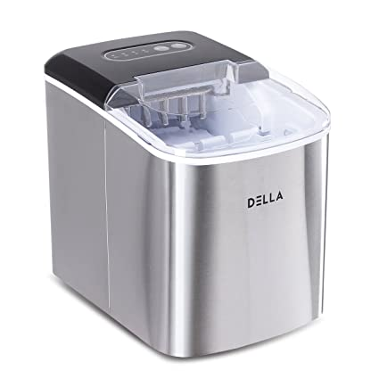 Stainless Steel Ice Making Machine With Ice Scoop Silver Countertop Ice Machine With 2 Quart Water Tank Aicok Portable Ice Maker 26 lbs of Ice per 24 hours Makes 9 Ice Cubes in 6-10 Minutes