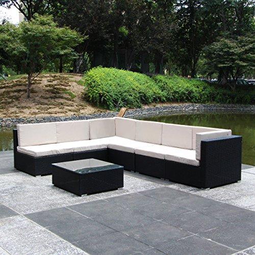 U-MAX 7 Piece 7-12 Pieces Patio PE Rattan Wicker Sofa Sectional Furniture Set (7 Pieces, Black) by U-MAX (Image #4)