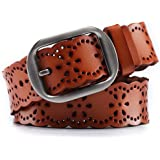 KaLeido Women's 38mm Wide Leather Floral Western Jean Belt