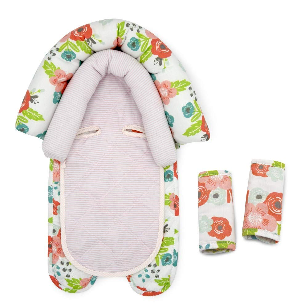 Polyester Cotton Goldbug Floral Duo Car Seat Head Support and Strap Set