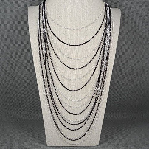(2 PCS Fashion Jewelry Necklace Long Chain Pendent Sweater Collar Bib Choker Collier Statement Cascading Multi Layers Long Tassels)