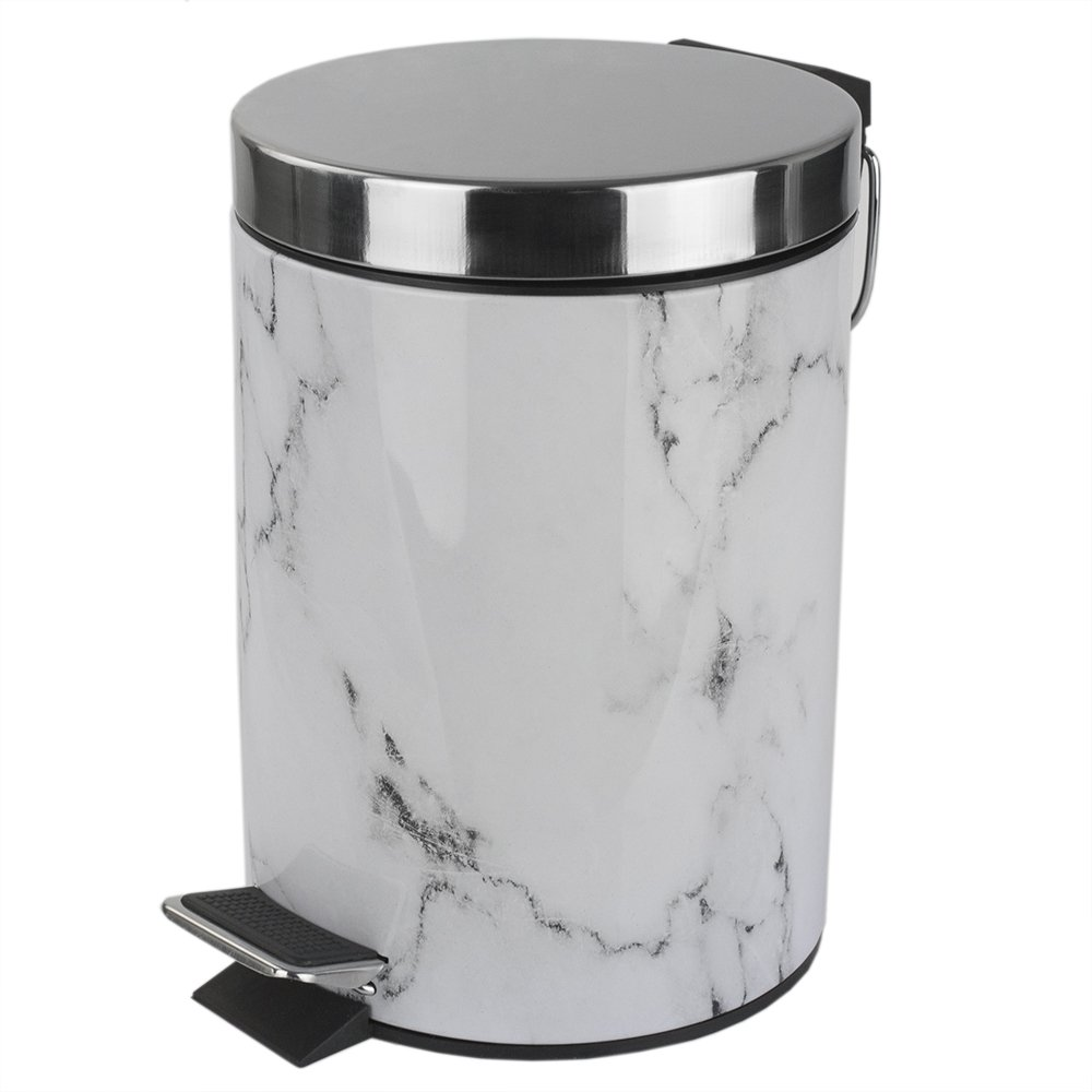 Home Basics White Faux Marble Bathroom Accessory (Garbage Can) by Home Basics