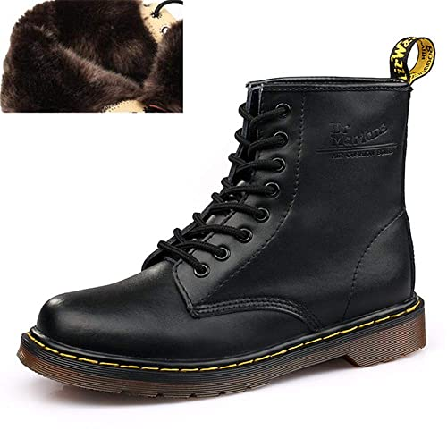 Men Martens Leather Moccasins Winter Warm Shoes Doc Martins Ankle Boot (4.5 M US,