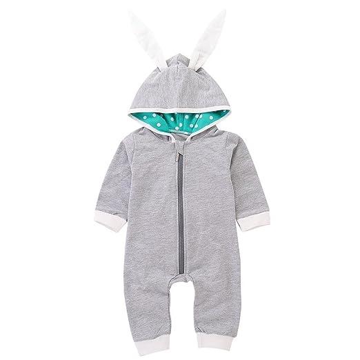 2fdf0158a Amazon.com  Hatoys Romper Baby Boys Rabbit 3D Ear Hooded Jumpsuit ...