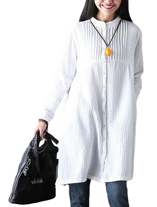 MatchLife Damen Langarm Blusenkleider Stehkragen Weiß Shirt Kleider