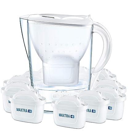 BRITA Marella – Jarra de Agua Filtrada con 12 cartuchos MAXTRA+ – Filtro de agua BRITA que reduce la cal y el cloro – Agua filtrada para un sabor excelente – Filtro de agua color blanco