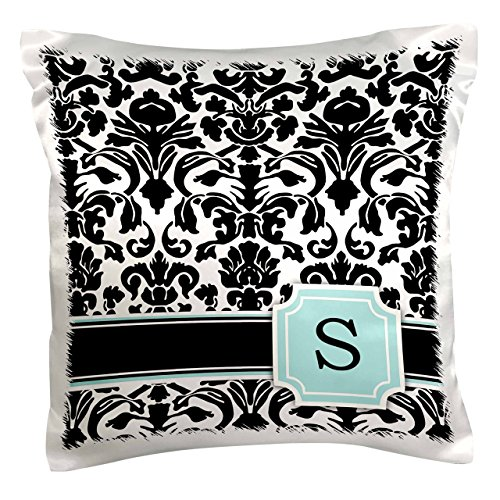 3dRose pc_154368_1 Letter S Personal Monogrammed Mint Blue Black and White Damask Pattern Classy Personalized Initial Pillow Case, 16