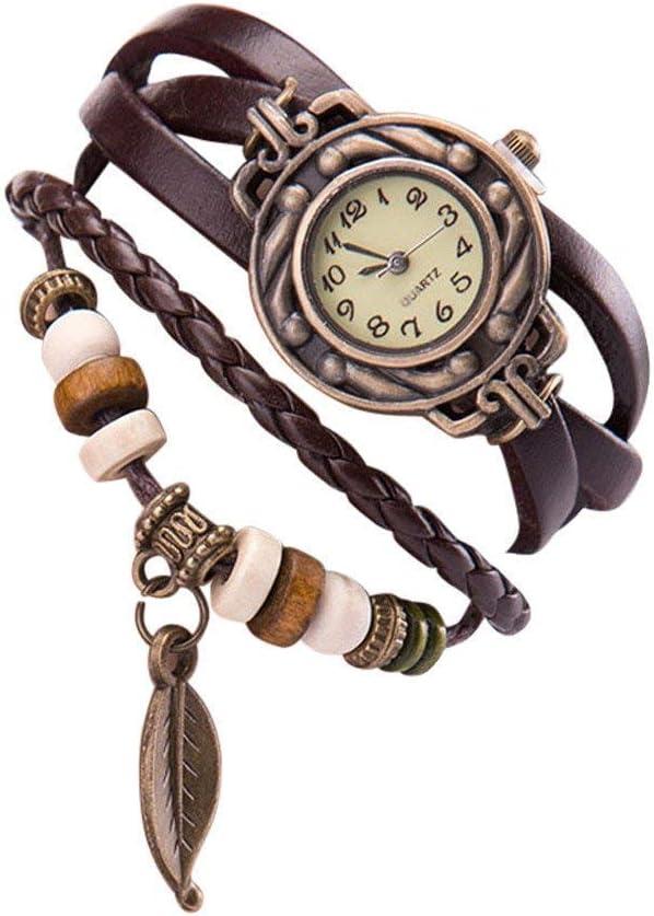 Qiusa Reloj de las mujeres, moda vintage brazalete de cuero pulsera reloj de pulsera Números romanos Casual Reto pulsera relojes de pulsera Hoja colgante Relojes para mujer niña Diseño de serpiente Re