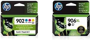 HP 902 | 3 Ink Cartridges | Cyan, Magenta, Yellow | T6L86AN, T6L90AN, T6L94AN (T0A38AN#140) & 906XL | Ink Cartridge | Black | T6M18AN