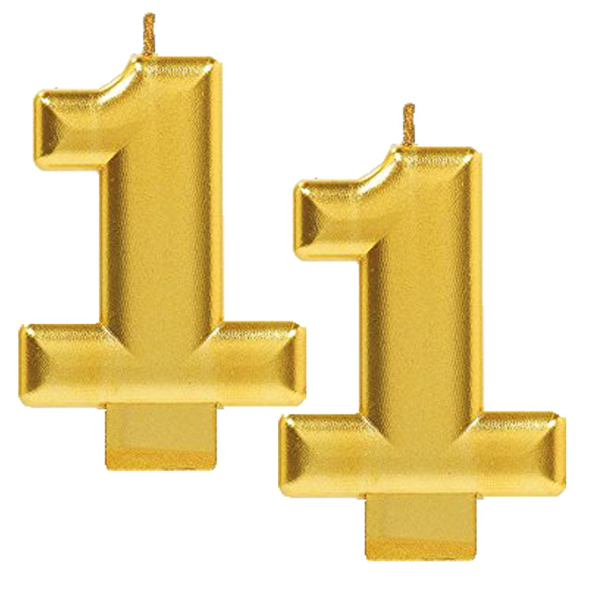 Metallic Gold Amscan 2 Birthday Glitter 3.25 Numeral Candle Childrens Party Favor Sets